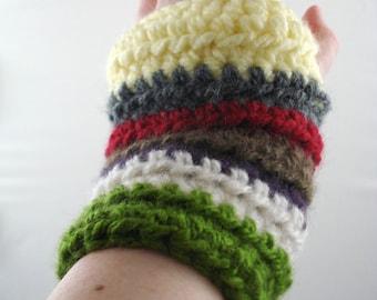 Multi-Colored Mohair Feel Striped Crocheted Wrist Warmers (size M-L) (SWG-WW-MJ01)