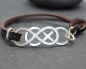 DOUBLE INFINITY, Cow leather Bracelet, SET, Couple, Genuine Leather, cuff, for men, sterling, silver, eternity
