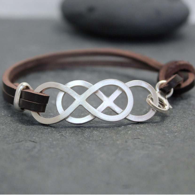 double infinity cow leather bracelet set couple genuine. Black Bedroom Furniture Sets. Home Design Ideas