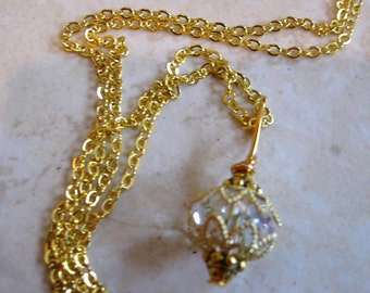 Small Clear AB, Gold Filigree, Tibetan Gold, Elegant Dangle, Brass Chain Necklace