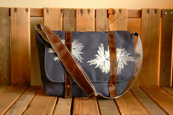Water-resistant Steel Blue Messenger with Brown Leather