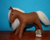 Wool felt art horse brown with cream mane