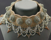 Mother of Dragons: Bead Embroidered Collar, Handmade Beaded Necklace