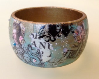Teal Green Blue Gold&Black Collage Decoupage Graffiti Art Wood Bangle Bracelet Cuff w Swarovski crystals