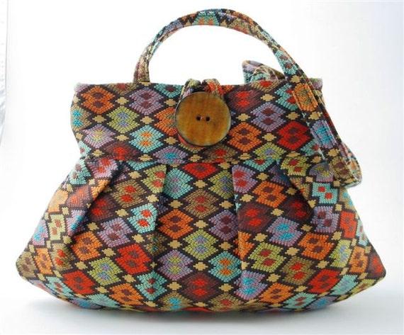 purse , sexy bag , handbag, shoulder bag ,small tote, made from italian tapestry