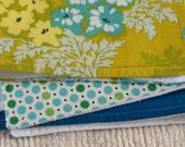Aqua bouquet burp cloth trio