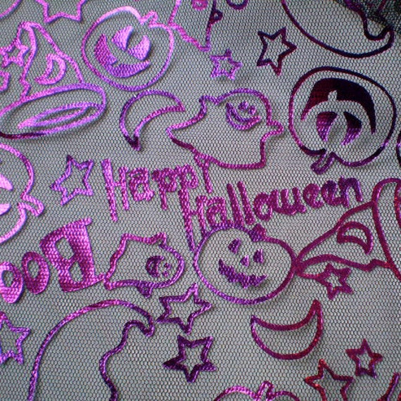 Custom listing for Z Chick - 3 3/4 yds. Halloween Fabric- Foil Halloween Night purple metallic on Black net-  sheer-  ghosts, pumpkins