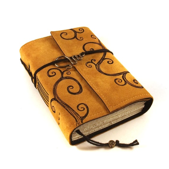 Leather Journal, Blank, Bound, Overswirled