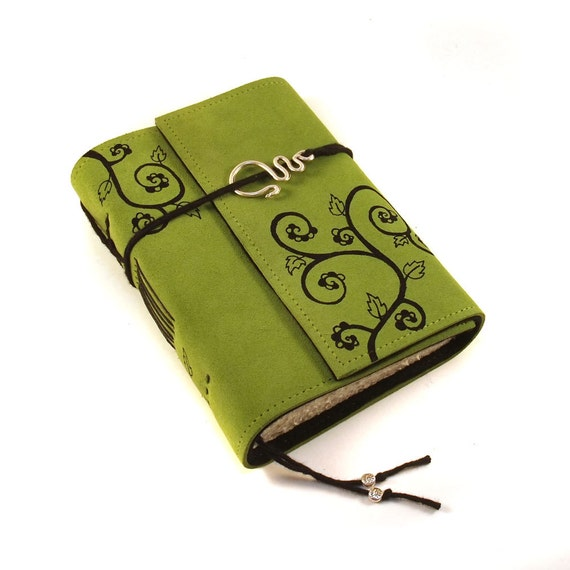 Leather journal, Green, Notebook: Overgrown