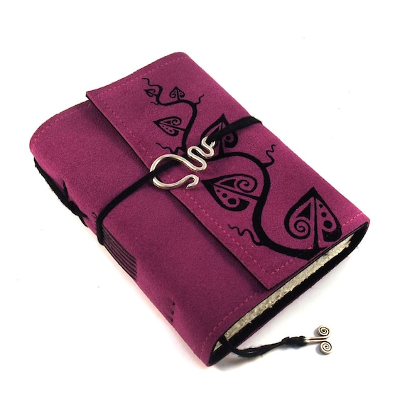 Handmade leather journal,  Suede, Magenta Leaves