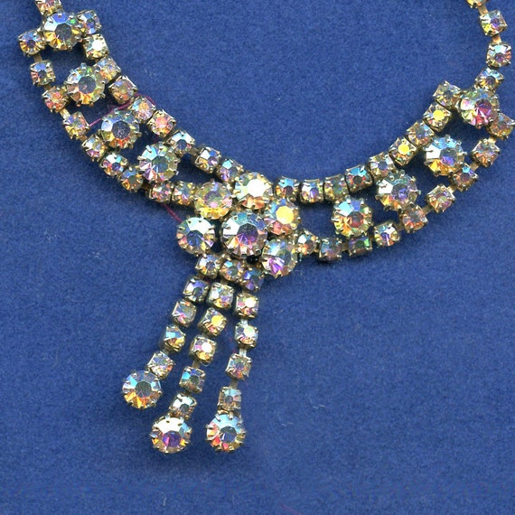 Aurora Borealis  Rhinestone Necklace  Vintage 1950s  Pretty Tasseled Design