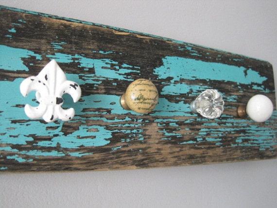 R US T I C / G L A M jewelry holder,  shabby jewelry display, reclaimed wood necklace holder, jewelry knob rack.