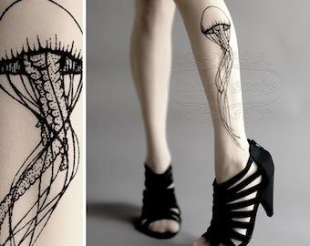 Jellyfish TATTOO gorgeous thigh-high stockings White