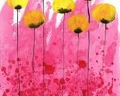 Watercolor Painting: Watercolor Flower Painting -- Art Print --  Pink Lemonade -- Yellow Flowers on Pink -- 8x10