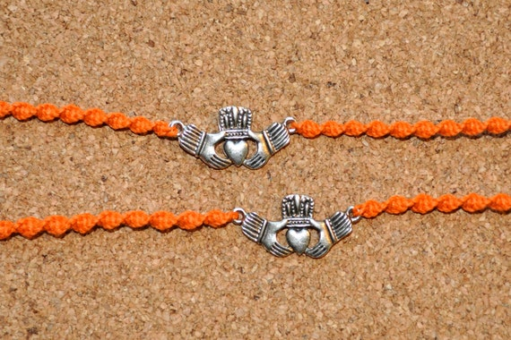 Bright Orange and Silver Claddagh Tie Ons