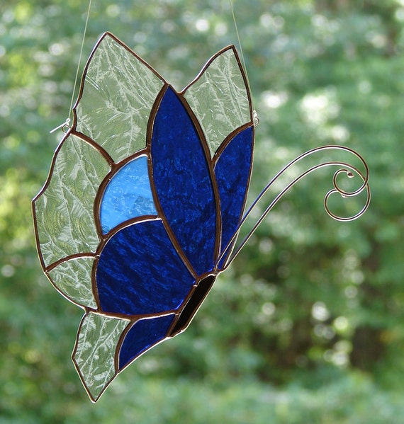 Stained Glass Blue Butterfly