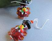 Pilgrim Turkey Thanksgiving Earrings by Cornerstoregoddess