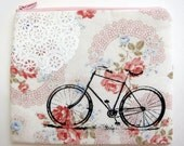 Pouch Bike and Lace on White Floral Print Linen