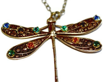 10 Hand Jeweled Dragonfly Necklace
