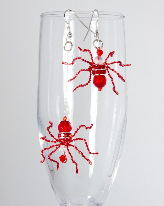 Red Crystal Spider Earrings
