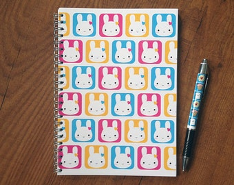 Bunny Squares Kawaii Notebook - Spiral Bound