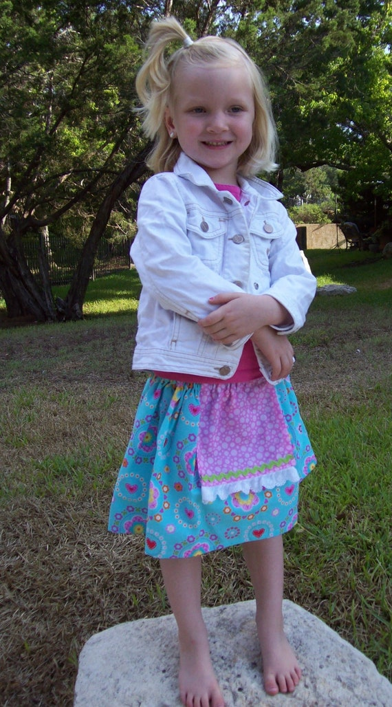 SALE Ready to Ship Boutique Aqua Flowers Apron Twirl Skirt Size 5