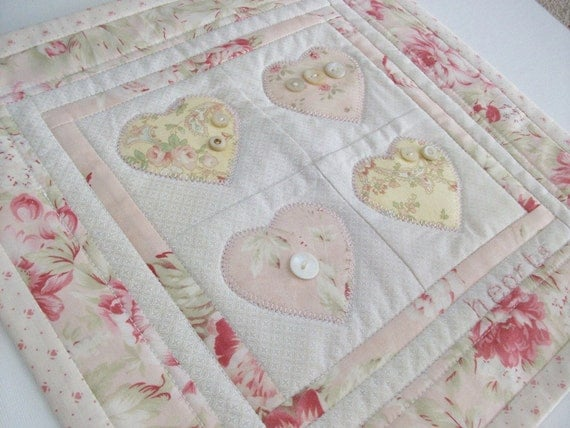 Little Quilt Appliqued Hearts, Not So Shabby Chic Pink Butter Yellow, Wall Decor, Home Decor, Wedding Accessories