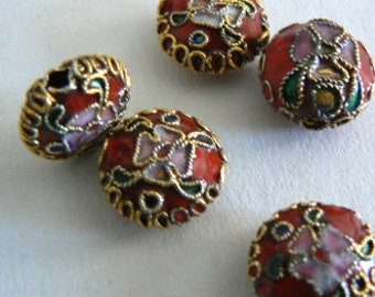 SALE 12 12x6mm Handmade Cloisonne Beads Gold Plated Brass Flower Jewlwry Making b2805