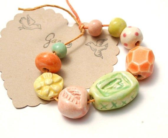 RESERVED for the lovely Beaditi / Love Life / Heart and Leaf Ceramic Bead Set