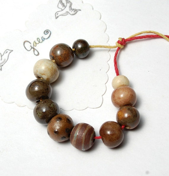 RESERVED for the lovely McKeeJewelryDesigns / Cocoa / Chocolate Tone Ceramic Bead Set