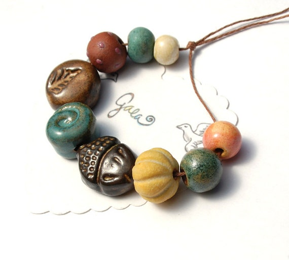 RESERVED for the lovely enlalumier / Gathering / Fall Inspired Bead Set