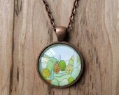 Perfect Landscape - mini print necklace pendant and chain