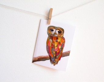 Colorful Owl - Greeting Card - Blank Inside with matching white envelope