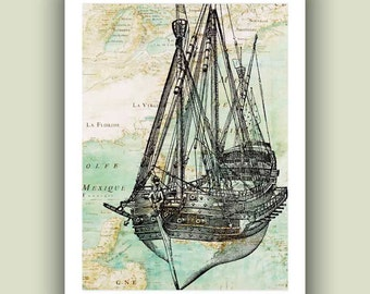 Sailboat art Print,  old war vessel, reproduction old map, Nautical art, Coastal living decor, seashore Print,  beach cottage Print 5x7