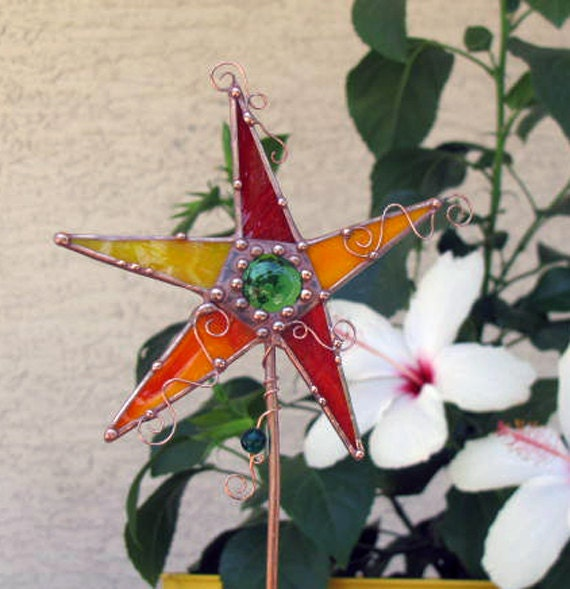 Stained Glass Copper Star Folk Art Mixed Media garden STake Red Yellow orange