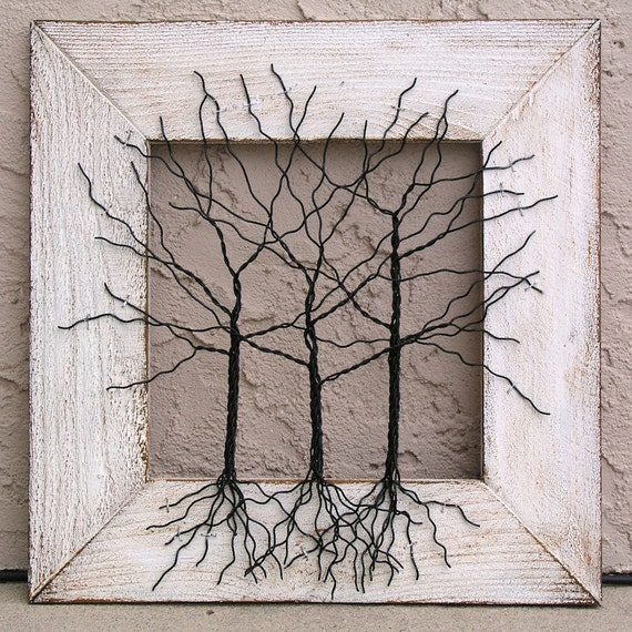 "Original Wire Tree Abstract Sculpture Painting ... Wire tree on distressed salvaged frame, Giacomelli ... Perfect gift size 16"" x 16"""