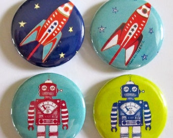 Robots and Rocketships Magnets (Set of 4)