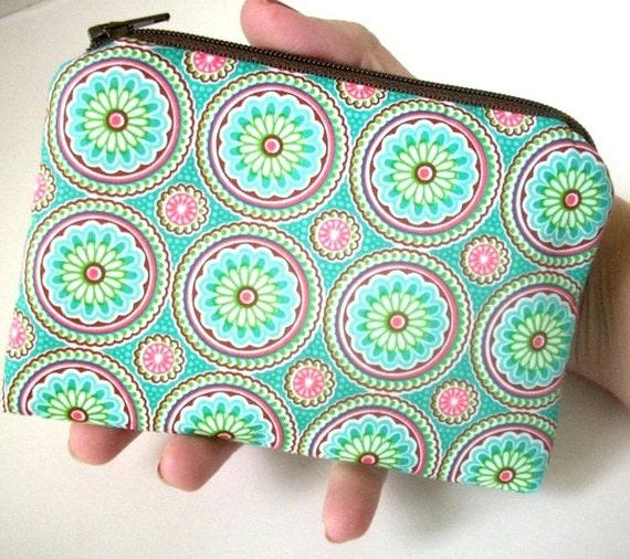 SALE Aqua Zipper Pouch ECO Friendly Padded Little Zippered Bag coin purse Gadget Case New Pinwheels on Aqua