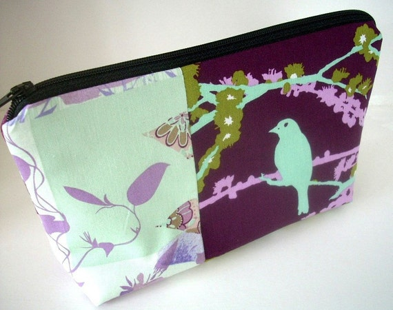 Purple Cosmetic Bag Large Flat bottom zipper pouch (Padded) OOAK Double Purple Lilac Sparrow