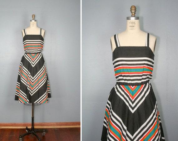 vintage . 1970s . striped . CHEVRON . cotton . sundress