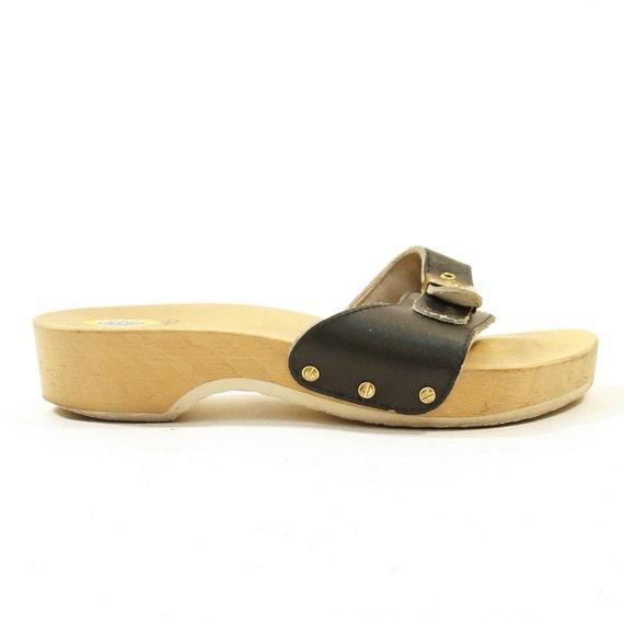 Dr Scholl's Wooden Platform Sandals / Clogs / Women sz 6