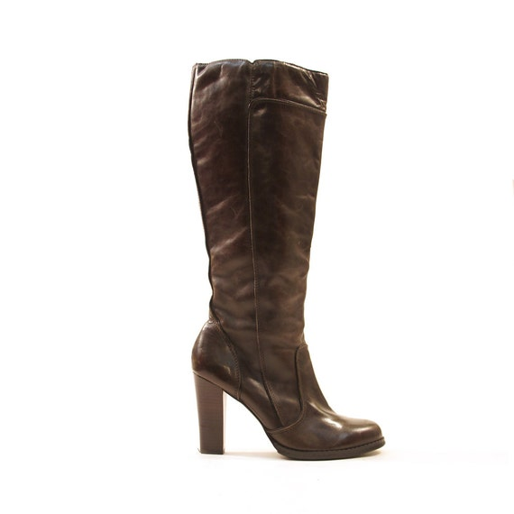 knee high leather boots zip up brown leather by