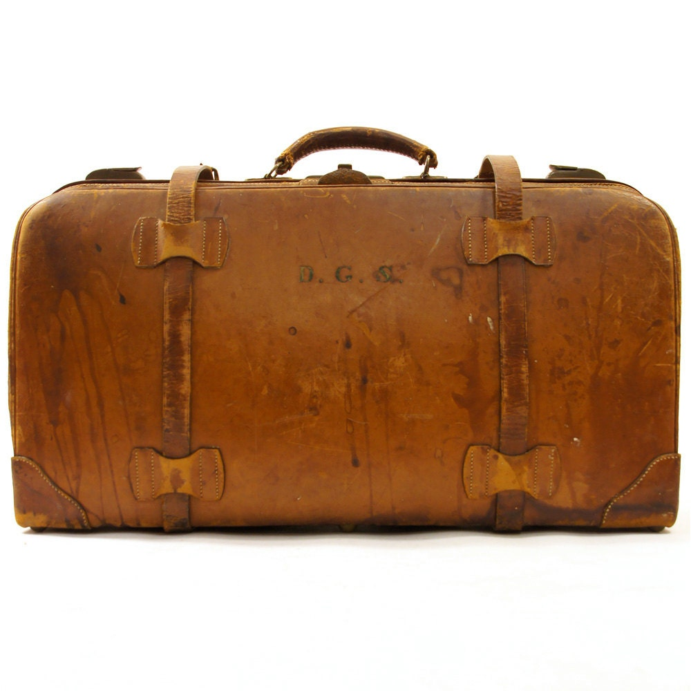Antique leather suitcase distressed brown leather pre - Vintage suitcase ...