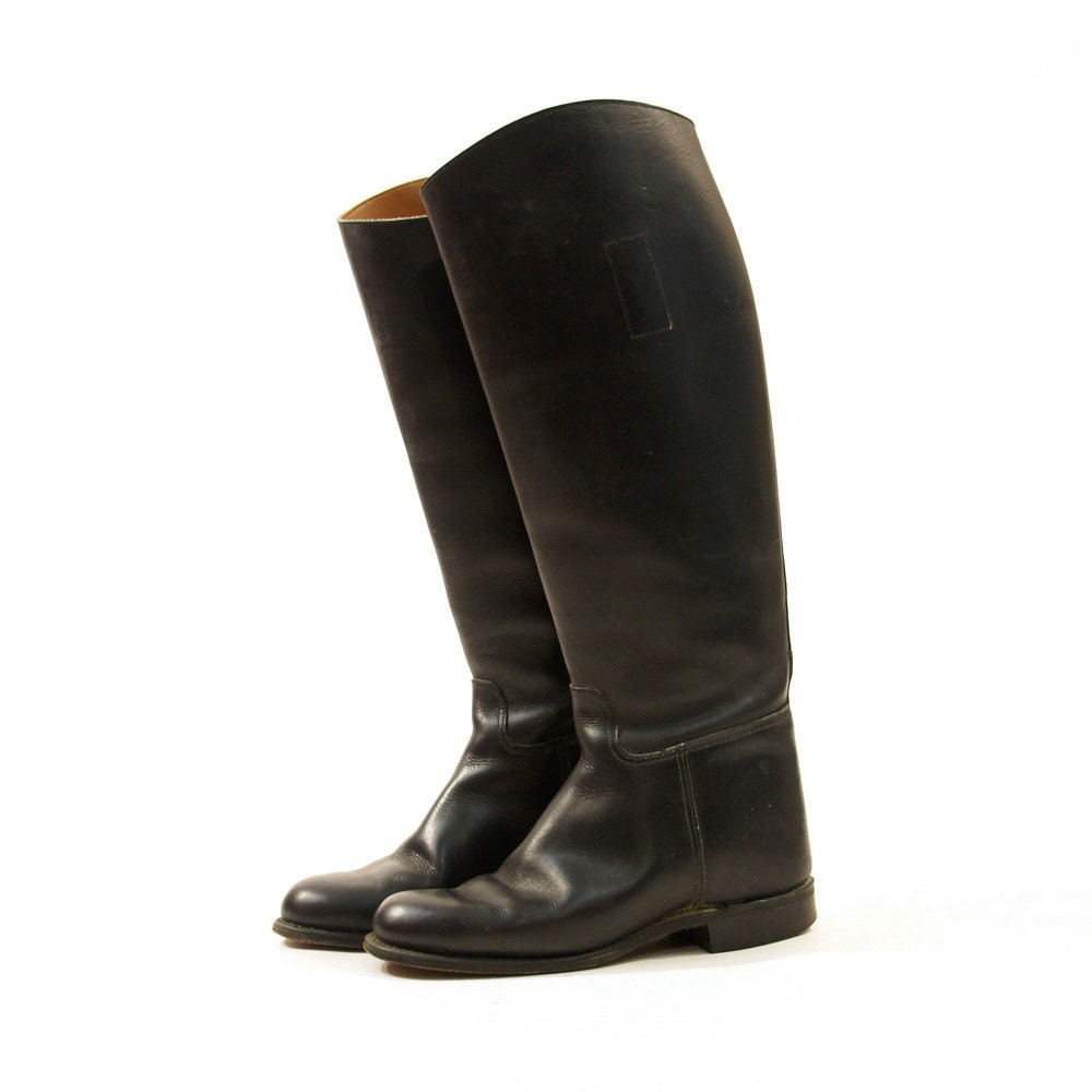 80s black leather boots knee high s sz