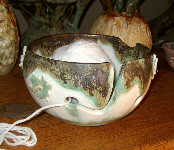Yarn bowl and buttons set  handmade stoneware pottery ceramic for knitting or crochet in greens, bronze and white