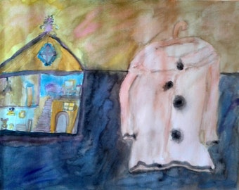 """Original painting, """"The Pink Coat and the Dollhouse"""", acrylic on archival paper"""