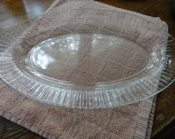 Vintage Arcoroc Clear Large Oval Platter, or Fish Plate