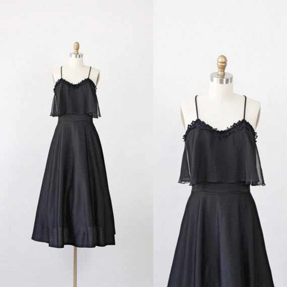 Black Vintage Dress with Sheer Overlay and Racerback