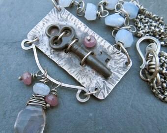 Sterling Skeleton Key Necklace Silver Antique Vintage Statement Piece