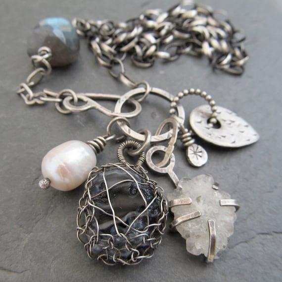 Sterling Charm Necklace Wire Wrapped gemstone Cluster Trinket B&W